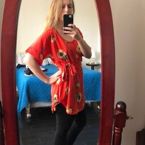 ModCloth flowy red floral tunic top